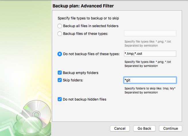 Advanced Filters as a step of backup plan wizard